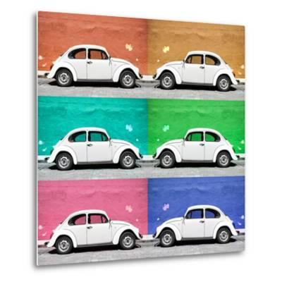 ¡Viva Mexico! Square Collection - White VW Beetle Cars & Color Walls-Philippe Hugonnard-Metal Print