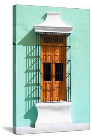 ?Viva Mexico! Collection - Orange Window and Coral Green Wall in Campeche-Philippe Hugonnard-Stretched Canvas Print