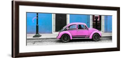 ¡Viva Mexico! Panoramic Collection - VW Beetle Car - Blue & Pink-Philippe Hugonnard-Framed Photographic Print