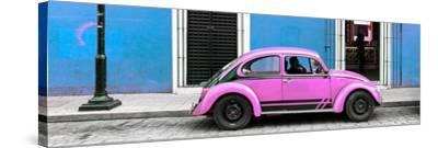 ¡Viva Mexico! Panoramic Collection - VW Beetle Car - Blue & Pink-Philippe Hugonnard-Stretched Canvas Print