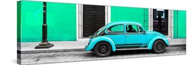 ¡Viva Mexico! Panoramic Collection - VW Beetle Car - Coral Green & Turquoise-Philippe Hugonnard-Stretched Canvas Print