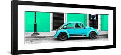 ¡Viva Mexico! Panoramic Collection - VW Beetle Car - Coral Green & Turquoise-Philippe Hugonnard-Framed Photographic Print