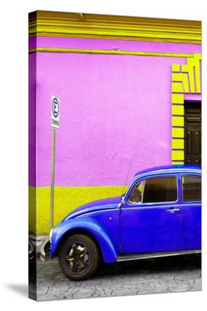 ?Viva Mexico! Collection - Royal Blue VW Beetle Car and Colorful Wall-Philippe Hugonnard-Stretched Canvas Print