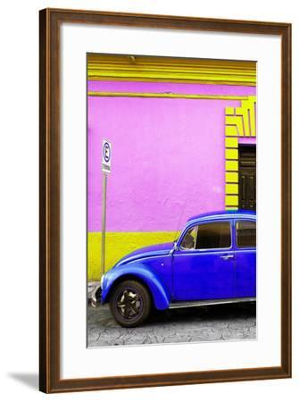?Viva Mexico! Collection - Royal Blue VW Beetle Car and Colorful Wall-Philippe Hugonnard-Framed Photographic Print
