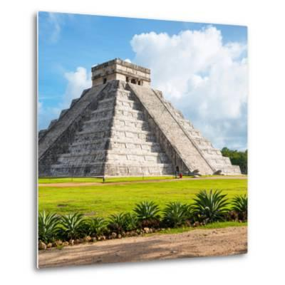 ¡Viva Mexico! Square Collection - El Castillo Pyramid in Chichen Itza V-Philippe Hugonnard-Metal Print