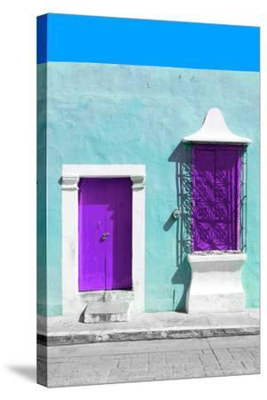 ?Viva Mexico! Collection - Purple and Powder Blue Facade - Campeche-Philippe Hugonnard-Stretched Canvas Print