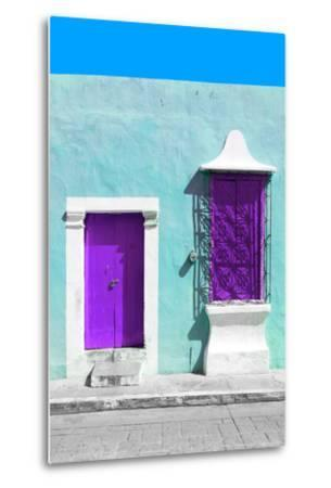 ?Viva Mexico! Collection - Purple and Powder Blue Facade - Campeche-Philippe Hugonnard-Metal Print