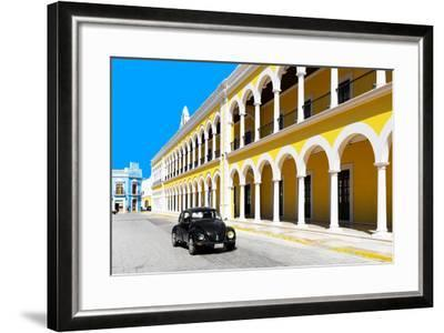 ?Viva Mexico! Collection - Black VW Beetle and Yellow Architecture in Campeche-Philippe Hugonnard-Framed Photographic Print