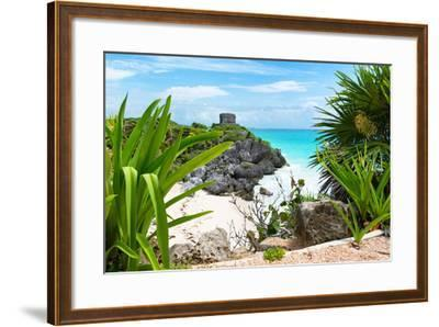 ?Viva Mexico! Collection - Mayan Archaeological Site with Iguana - Tulum-Philippe Hugonnard-Framed Photographic Print