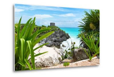 ?Viva Mexico! Collection - Mayan Archaeological Site with Iguana - Tulum-Philippe Hugonnard-Metal Print
