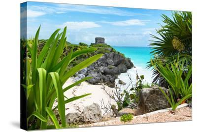 ?Viva Mexico! Collection - Mayan Archaeological Site with Iguana - Tulum-Philippe Hugonnard-Stretched Canvas Print