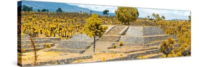 ¡Viva Mexico! Panoramic Collection - Pyramid of Cantona - Puebla VI-Philippe Hugonnard-Stretched Canvas Print