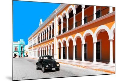 ?Viva Mexico! Collection - Black VW Beetle and Orange Architecture in Campeche-Philippe Hugonnard-Mounted Photographic Print