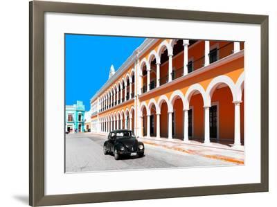 ?Viva Mexico! Collection - Black VW Beetle and Orange Architecture in Campeche-Philippe Hugonnard-Framed Photographic Print