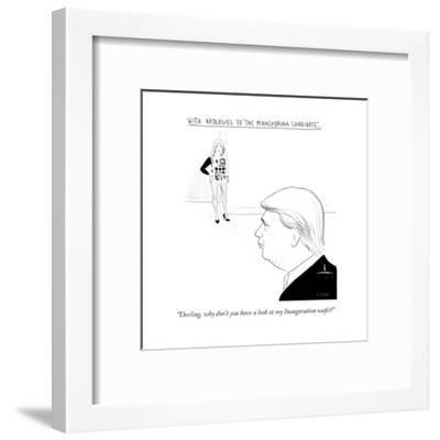 """""""Darling, why don't you have a look at my Inauguration outfit?"""" - Cartoon-Emily Flake-Framed Premium Giclee Print"""