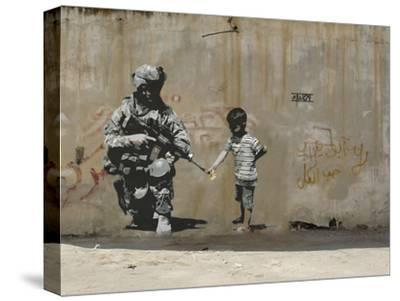 Peace-Banksy-Stretched Canvas Print