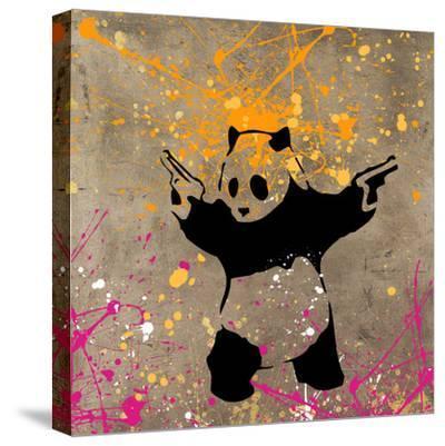 Panda with Guns-Banksy-Stretched Canvas Print