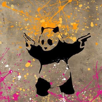 Panda with Guns-Banksy-Stretched Canvas Print