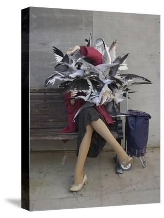 Lady of the Gulls-Banksy-Stretched Canvas Print
