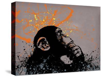 Thinker Monkey-Banksy-Stretched Canvas Print