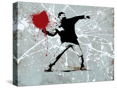 Painted heart Thrower-Banksy-Stretched Canvas Print