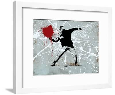 Painted heart Thrower-Banksy-Framed Giclee Print