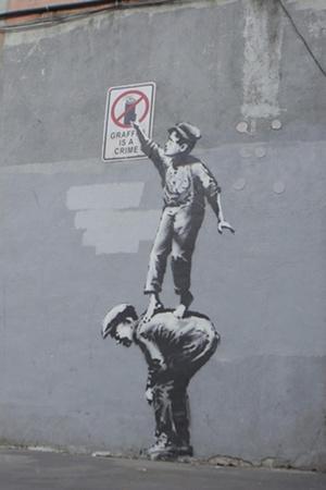 Graffiti Is a Crime-Banksy-Framed Premium Giclee Print