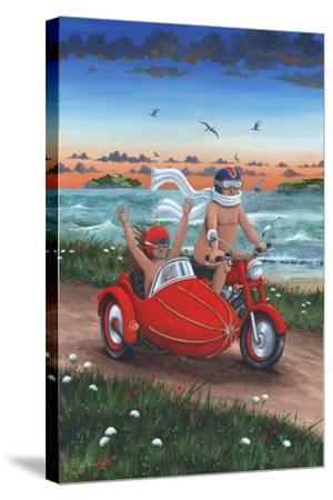 Motorbike and Sidecar-Peter Adderley-Stretched Canvas Print
