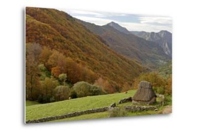 Traditional Thatched Hut, Brana De Fuexu, Valle Del Lago, Somiedo Np. Asturias, Spain-Juan Manuel Borrero-Metal Print