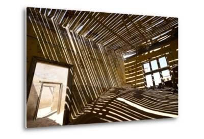 Shadows Of Rafter On Sand In Abandoned House-Enrique Lopez-Tapia-Metal Print