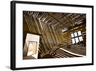Shadows Of Rafter On Sand In Abandoned House-Enrique Lopez-Tapia-Framed Photographic Print