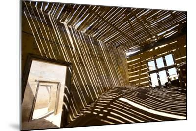 Shadows Of Rafter On Sand In Abandoned House-Enrique Lopez-Tapia-Mounted Photographic Print
