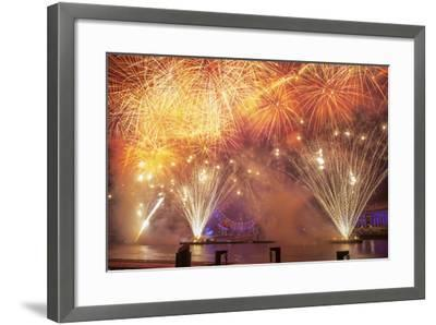 Fireworks Over The London Eye On New Years Eve 2012. London, England, UK-Peter Lewis-Framed Photographic Print