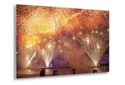 Fireworks Over The London Eye On New Years Eve 2012. London, England, UK-Peter Lewis-Metal Print