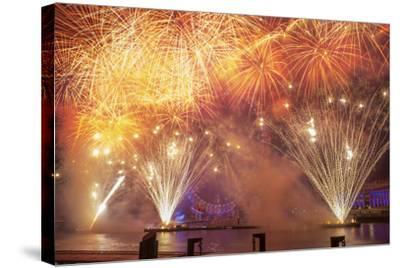 Fireworks Over The London Eye On New Years Eve 2012. London, England, UK-Peter Lewis-Stretched Canvas Print