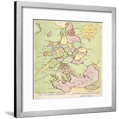 New Map of England and France, the French Invasion, 1793-James Gillray-Framed Giclee Print