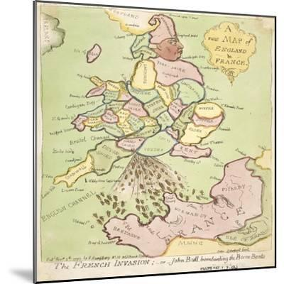 New Map of England and France, the French Invasion, 1793-James Gillray-Mounted Giclee Print