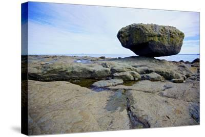 Balance Rock on the East Coast of Graham Island. it Is a Glacial Erratic from the Last Ice Age-Richard Wright-Stretched Canvas Print