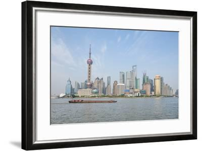 Pudong District Skyline with Shipping on the Huangpu River, Shanghai, China-Michael DeFreitas-Framed Photographic Print