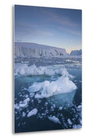 Greenland, Disko Bay, Ilulissat, Floating Ice at Sunset with Moonrise-Walter Bibikow-Metal Print