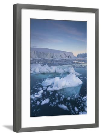Greenland, Disko Bay, Ilulissat, Floating Ice at Sunset with Moonrise-Walter Bibikow-Framed Photographic Print