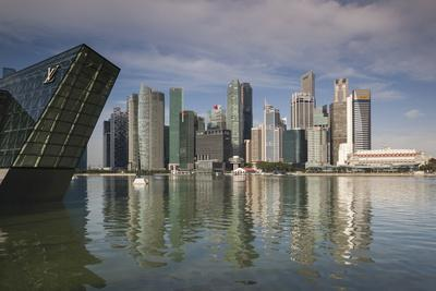 Singapore, Skyline with the Louis Vuitton Floating Shop-Walter Bibikow-Framed Photographic Print