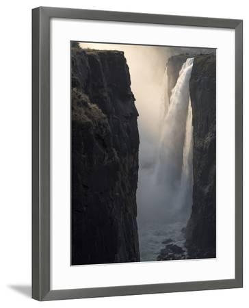 Africa, Zimbabwe, Victoria Falls. Close-Up of Waterfall and Spray at Sunrise-Jaynes Gallery-Framed Photographic Print