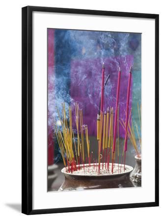 Vietnam, Ho Chi Minh City. Cholon, Chinatown Area, Thien Hau Pagoda, Burning Incense-Walter Bibikow-Framed Photographic Print