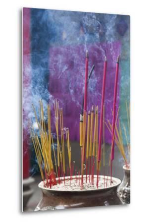 Vietnam, Ho Chi Minh City. Cholon, Chinatown Area, Thien Hau Pagoda, Burning Incense-Walter Bibikow-Metal Print