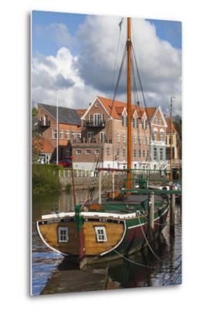 Denmark, Jutland, Ribe, Town View with the Johanne Dan, Flat-Bottomed Sailing Ship-Walter Bibikow-Metal Print