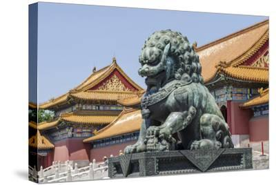 Bronze Lion Guarding the Entrance to the Gate of Supreme Harmony, Forbidden City, Beijing China-Michael DeFreitas-Stretched Canvas Print