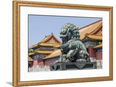 Bronze Lion Guarding the Entrance to the Gate of Supreme Harmony, Forbidden City, Beijing China-Michael DeFreitas-Framed Photographic Print