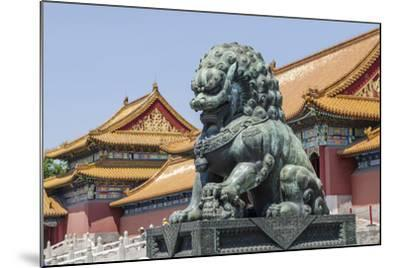 Bronze Lion Guarding the Entrance to the Gate of Supreme Harmony, Forbidden City, Beijing China-Michael DeFreitas-Mounted Photographic Print