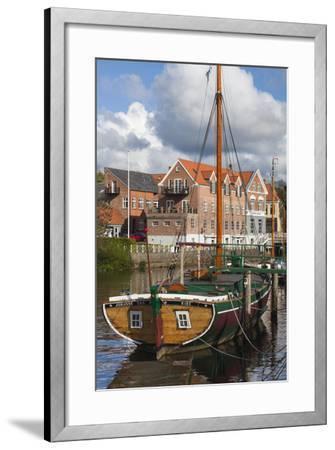 Denmark, Jutland, Ribe, Town View with the Johanne Dan, Flat-Bottomed Sailing Ship-Walter Bibikow-Framed Photographic Print
